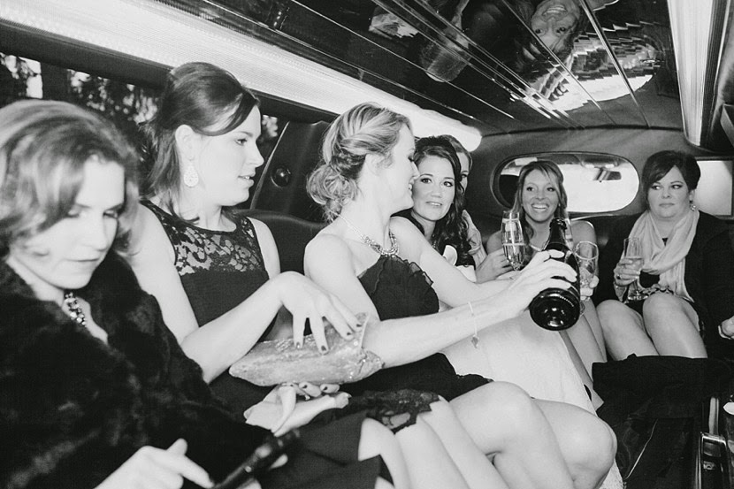bridesmaids in limo photo