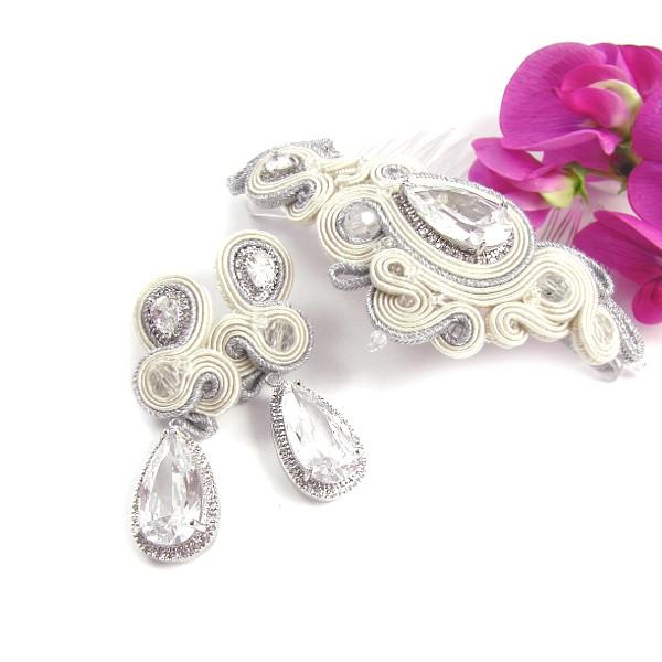 Biżuteria ślubna z sutaszu, kolczyki i grzebień