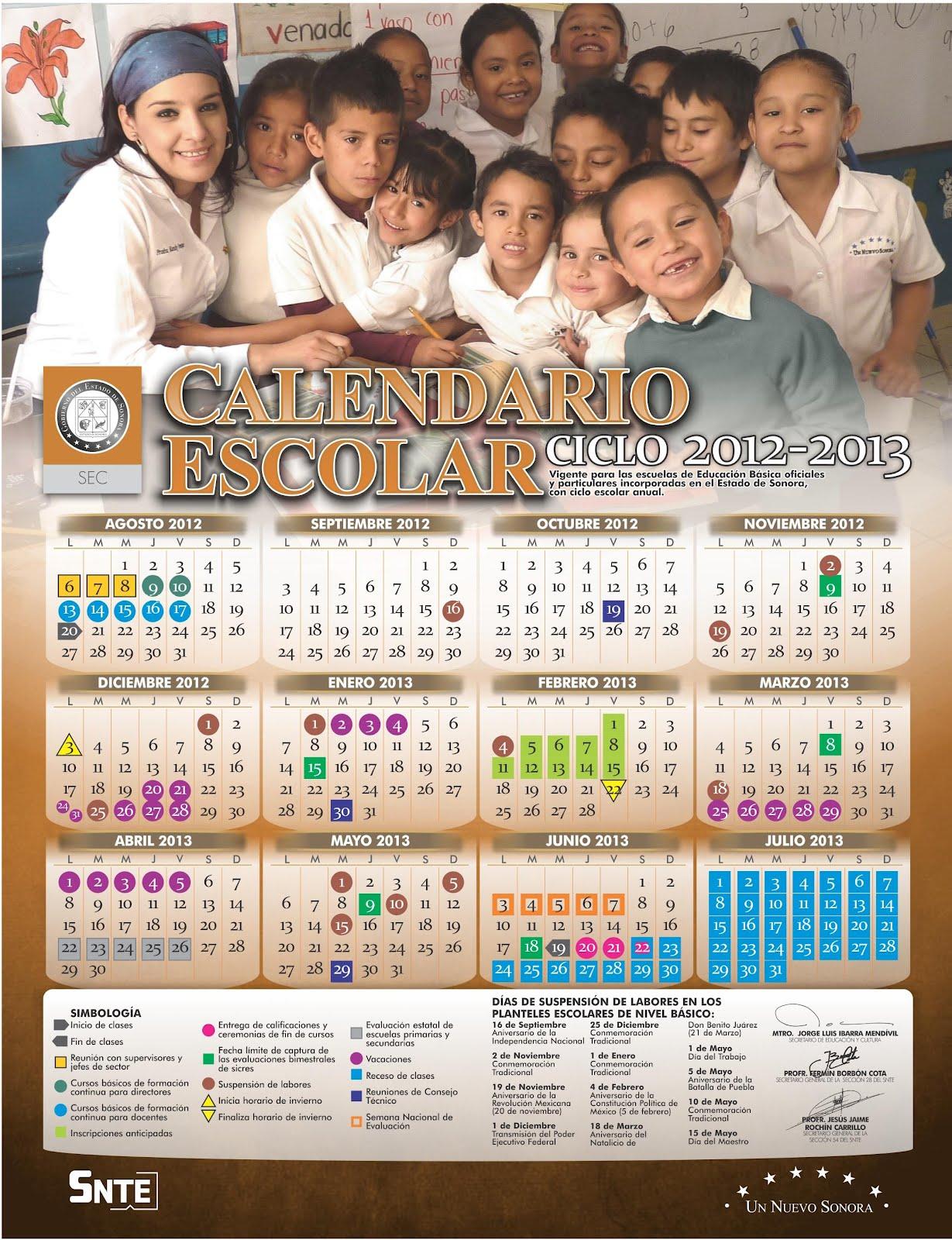 Calendario escolar 2012-2013 de Sonora