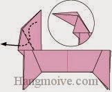 Bước 11: Gấp cạnh giấy vào trong giữa hai lớp giấy xuống dưới.