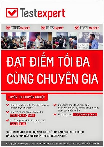 Testexpert - Trung tâm luyện thi TOEIC - IELTS - TOEFL chuyên nghiệp đã đến Việt Nam