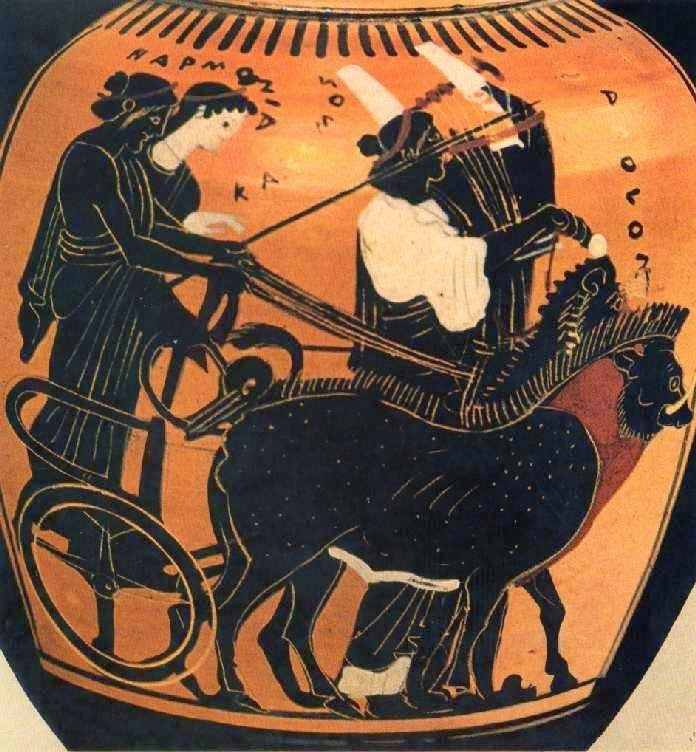 Γάμος του Κάδμου με την Αρμονία. Μελανόμορφος αμφορέας του Ζωγράφου του Διόσφου, αρχές 5ου αι. π.Χ. Αφού ο Κάδμος σκότωσε το φίδι που φύλαγε την Αρεία πηγή, ο Άρης πάντρεψε τον Κάδμο με την κόρη του Αρμονία. Στο αγγείο ο Κάδμος και η Αρμονία πάνω στο άρμα που ως υποζύγια έχει ένα λιοντάρι κι έναν ταύρο. Ο Απόλλων κιθαρωδός που ακολουθεί πεζή αναγγέλει τη γαμήλια πομπή. Παρίσι, Μουσείο του Λούβρου, ca 1691