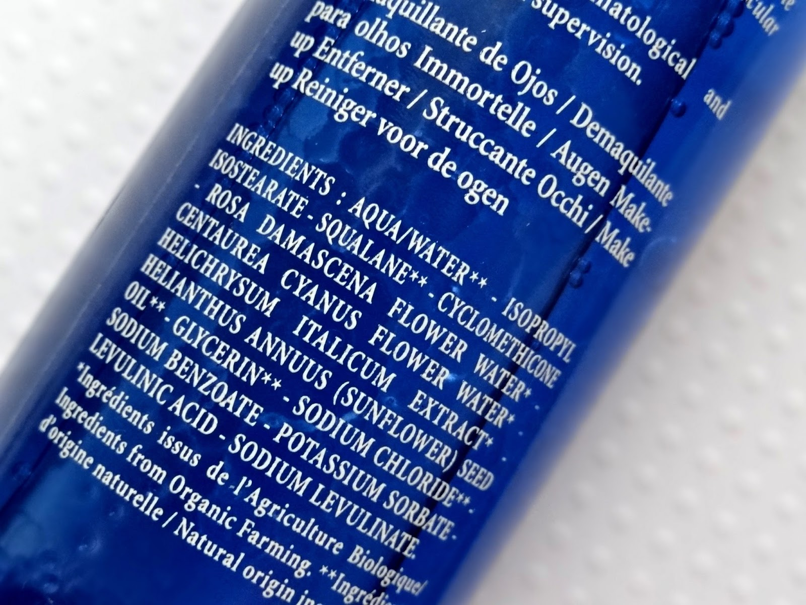 L'Occitane Immortelle Eye Makeup Remover Ingredients