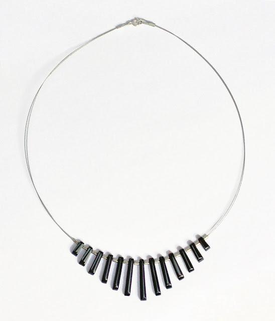 Collar á gata negra y plata 925 terminaciones en plata 925 49 cm