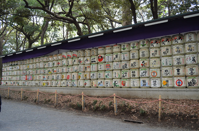 Barrels of sake wrapped in straw, Meiji Shrine, Shibuya, Tokyo