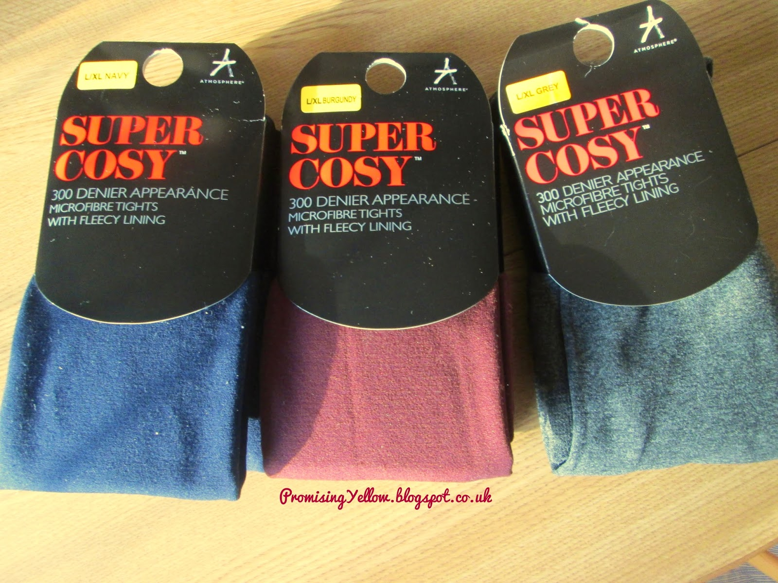Primark super cosy tights fleece lined burgundy, navy and grey marl