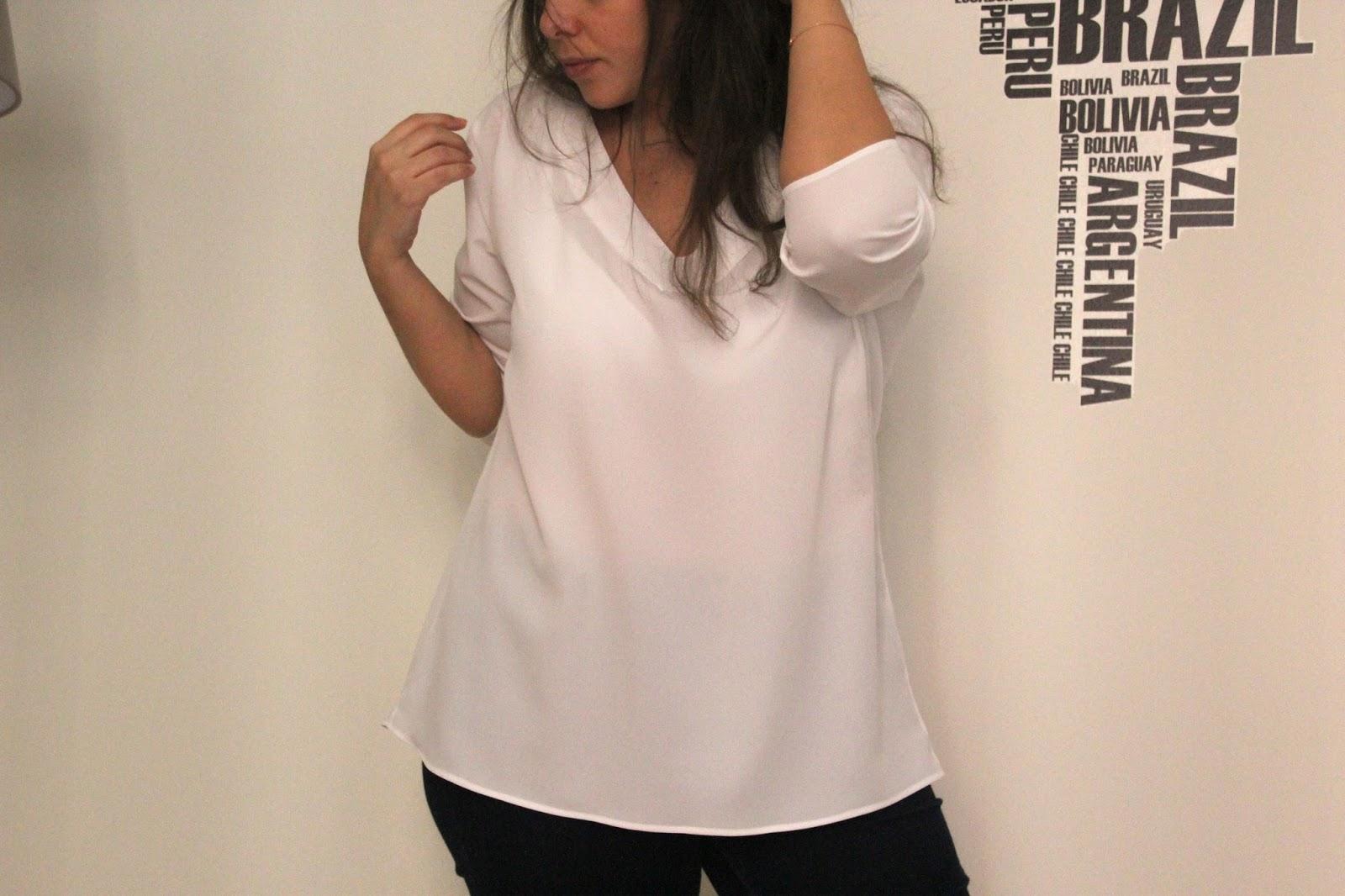 DIY Tutorial  Blusa básica con cuello de pico (patrones gratis ... f0bca4b6af9f9