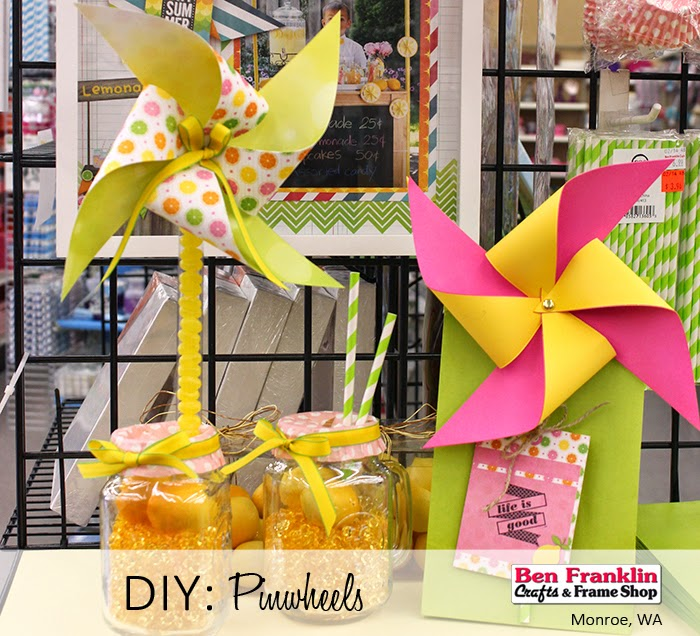 Pinwheels created with the Lemonade Stand Paper by BoBunny using our Die-Cut Machine.