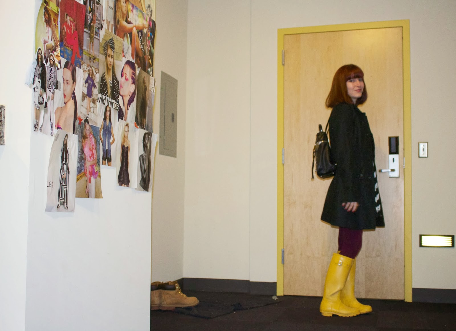 hunter boots, yellow rain boots, milly backpack, cat dress,