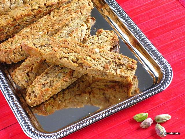 Eggless Pistachio And Tea Biscotti