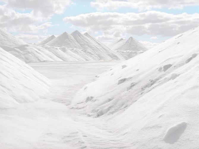 bright white salt mountains in australia