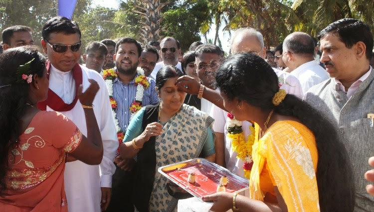 Image result for Sushma backs Tamil cause, Says Sri Lankan 'war crimes' have caused pain and anguish for India