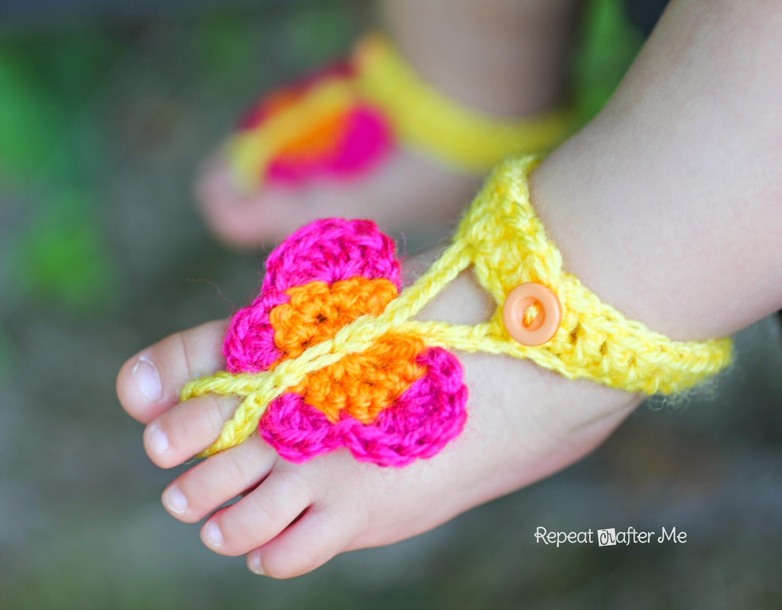 Crochet Baby Toe Sandals Free Pattern : Crochet Butterfly Barefoot Sandals - Repeat Crafter Me