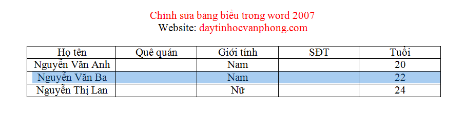 Chỉnh sửa bảng biểu trong Word