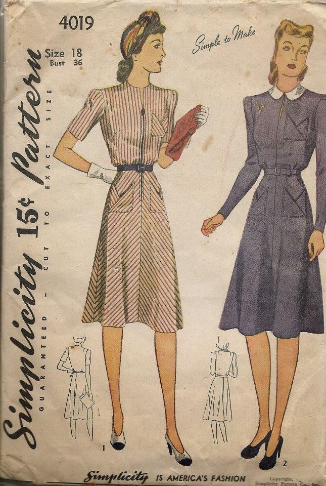 Dress Patterns 2009 Ww2-era Day Dress Pattern
