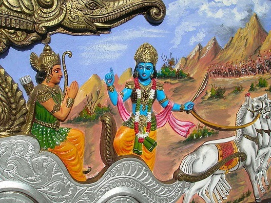 Krishna instructing Arjuna in Kurukshetrea