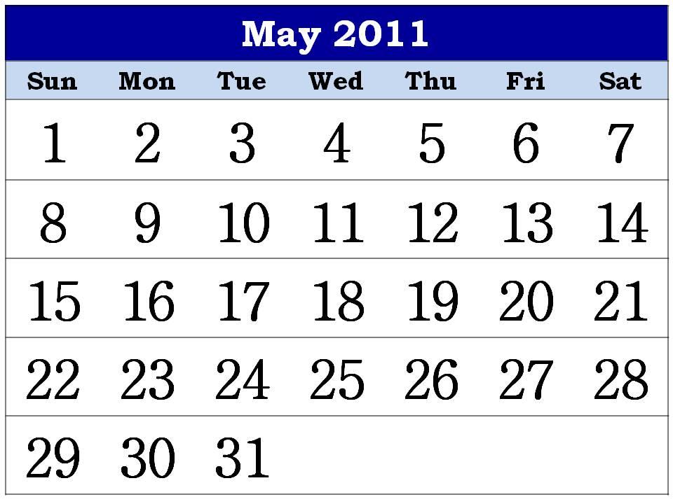 may 2011 printable calendar. may 2011 printable calendar.