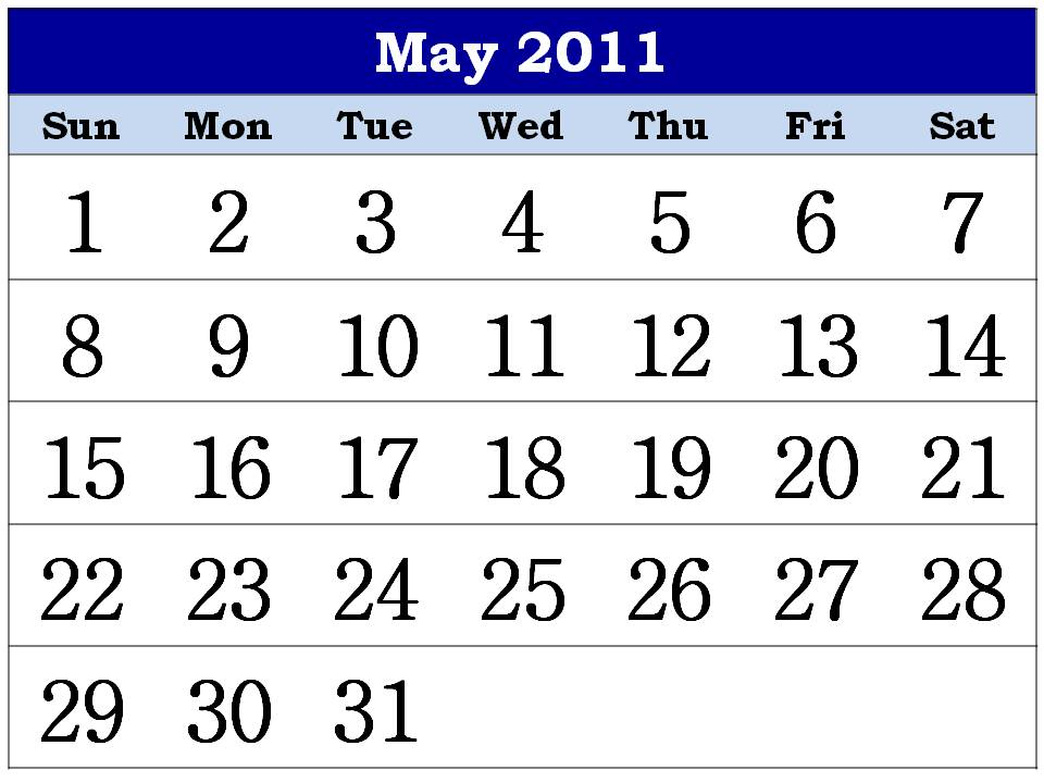 monthly calendar 2011 may. Free Printable Calendar 2011