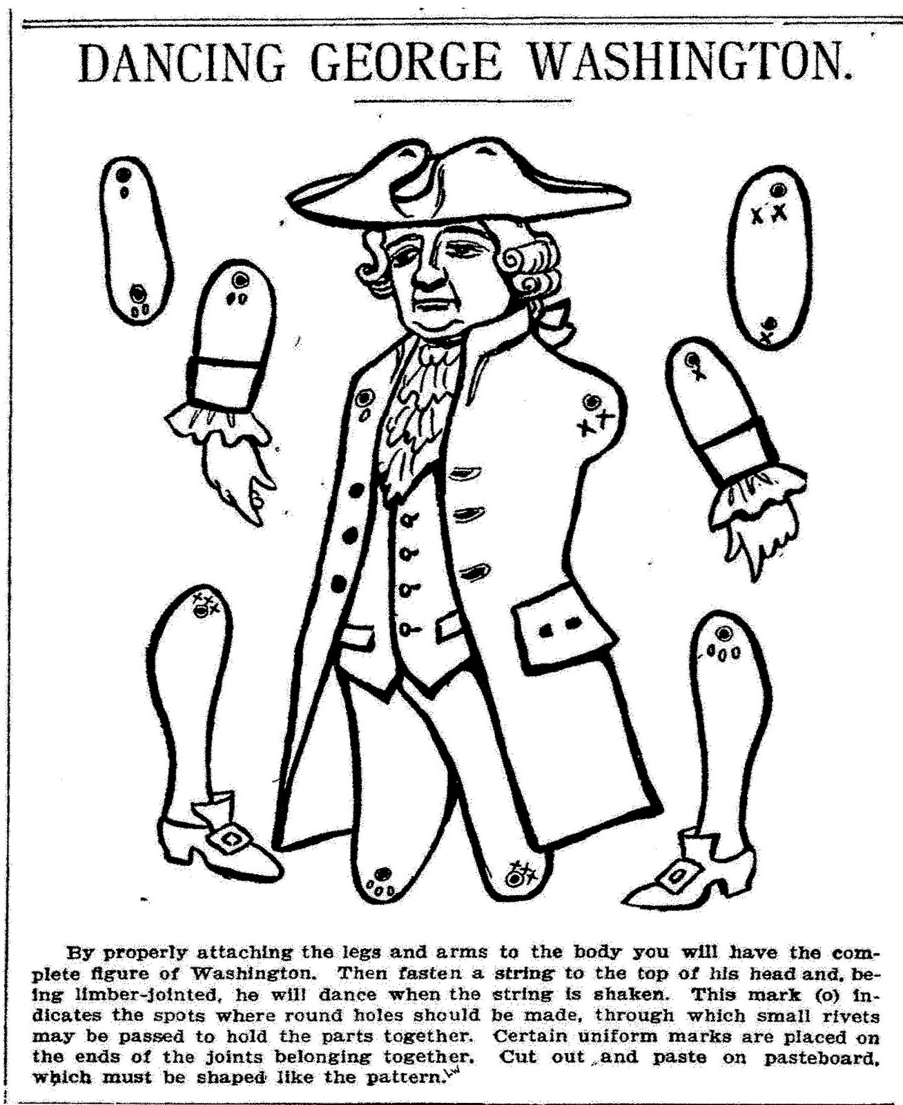 Mostly Paper Dolls Dancing George Washington 1905 George Washington Coloring Pages Printable