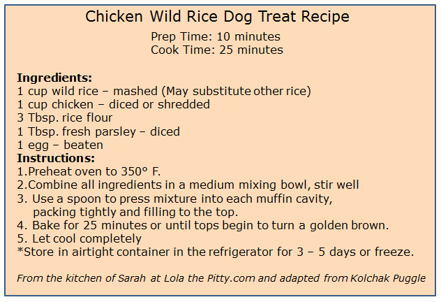 Chicken Wild Rice Dog Treat Recipe