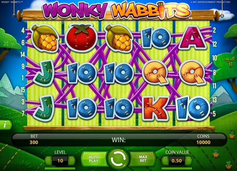 Wonky Wabbits Video Slot Screen