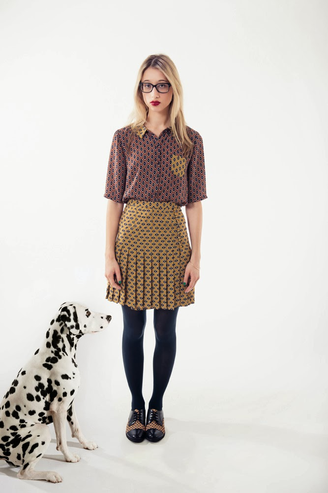 Rachel Antonoff, fall 2013 collection, printed pleated skirt, yellow skirt, mustard skirt, diamond print skirt, diamond print top, rust top, A Coin For the Well