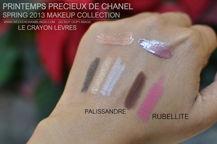 Printemps Precieux de Chanel Spring 2013 Makeup Collection Indian Beauty Blog Darker Skin Swatches Crayon Lip Definer Pink Brown Rubellite Palissandre