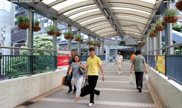 Pasarela elevada en Hong Kong