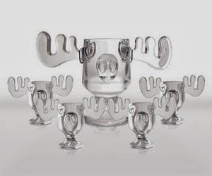 christmas vacation glass moose mug punch bowl set w set of 4 moose mugs - Christmas Vacation Moose Punch Bowl