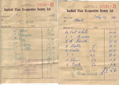 Two bills on headed paper from the Annfield Plain Co-operative Society listing bread, cakes, meats and other things for a funeral tea