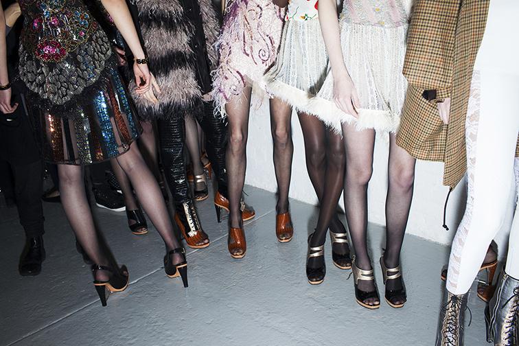 NYFW backstage, Rodarte FW15, models, legs, New York Fashion Week