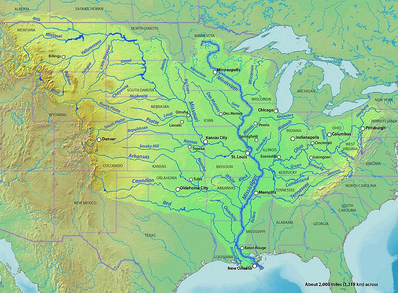 Mississippi River Project - Map of the us mississippi river