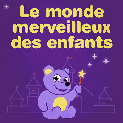 Fairy tales audio cover with teddy bear in purple