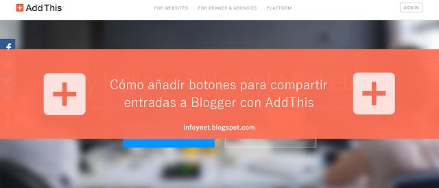 Cómo añadir botones para compartir entradas a Blogger con AddThis