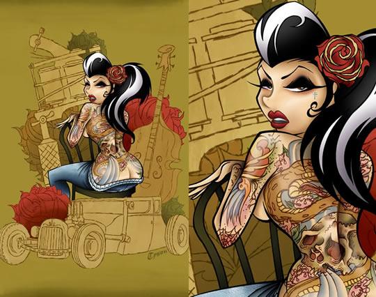 Tatuagens femininas em ilustrações sexy - 09