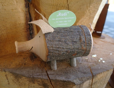 piggy bank called Rudi, made from bark and more