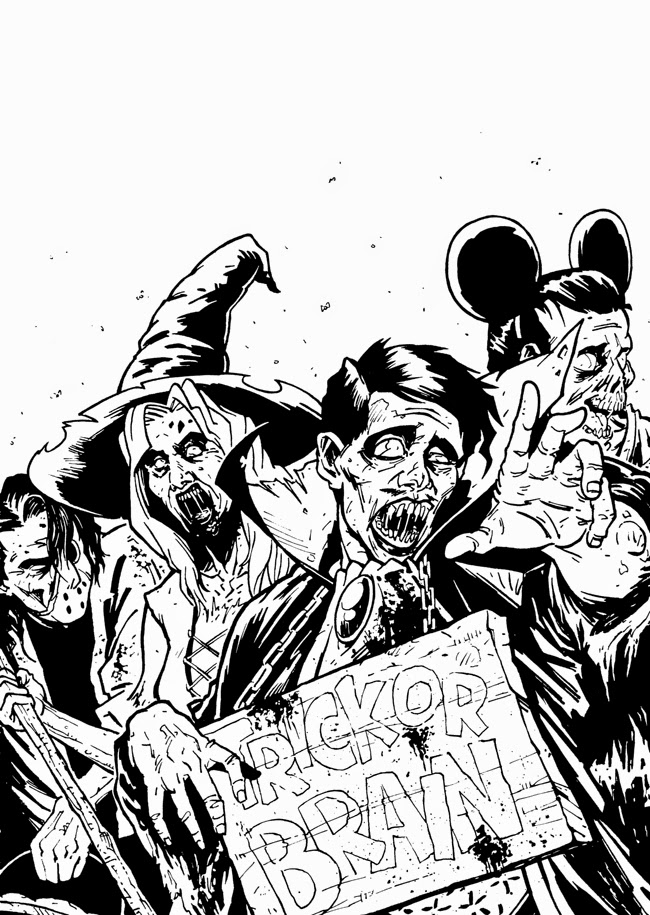 zombie sketch ink black and white halloween cover inks