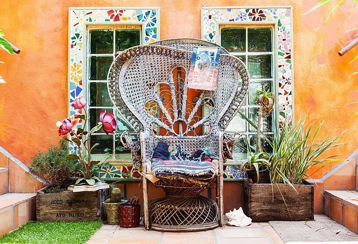 Pre Loved Rattan Peacock Chair In Erin Wassons Bohemian L.A Home