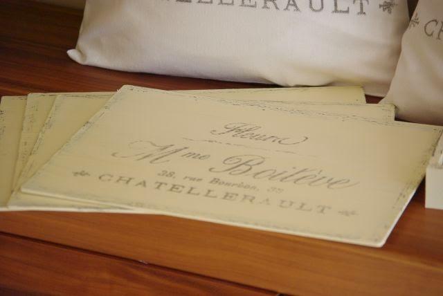 podkładki na stół z napisem, podkładki na stół vintage
