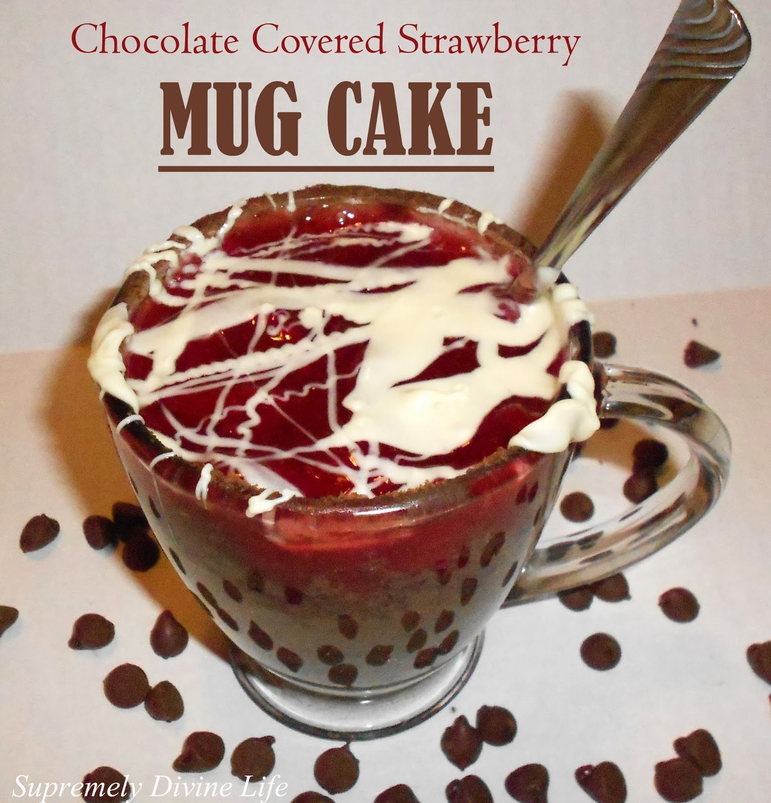 Chocolate mug cake covered with strawberry filling and melted chocolate.