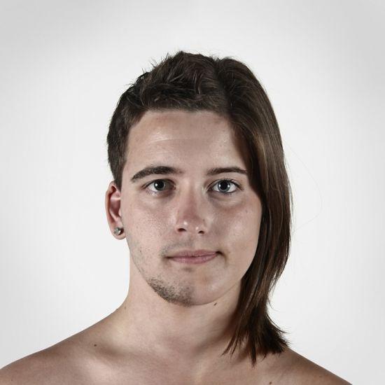 Ulric Collette fotografia surreal photoshop retratos genéticos família rostos misturados autorretratos Gêmeos bivitelinos (irmão e irmã) - Alex e Sandrine (20 anos)