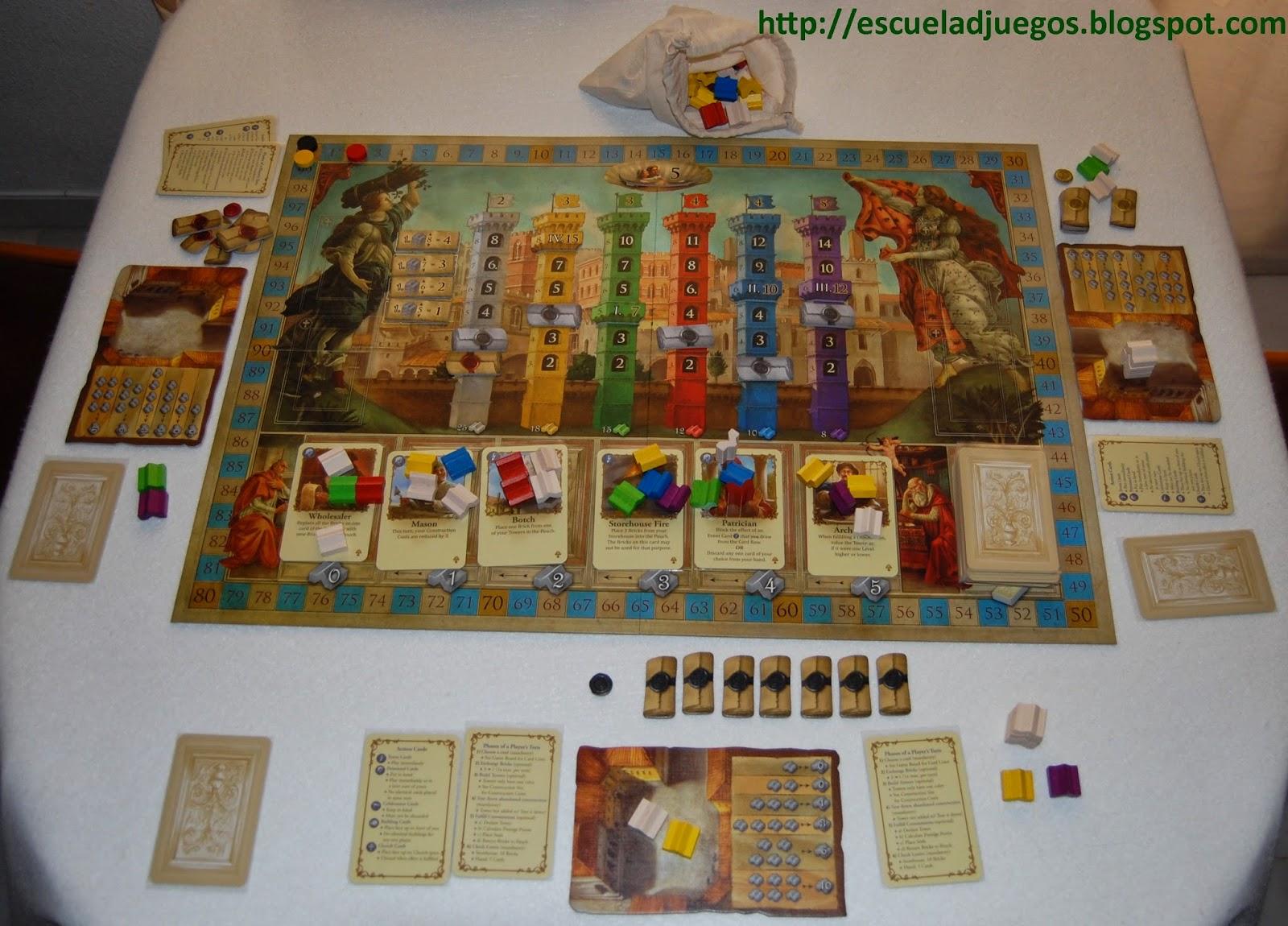 Review del juego de mesa Firenze de Pegasus spiele y traducción de las reglas en castellano por Escuela de juegos