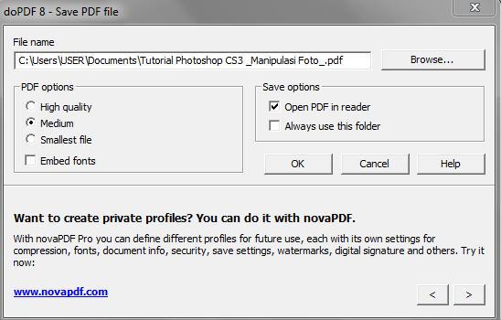 cetak file dengan dopdf