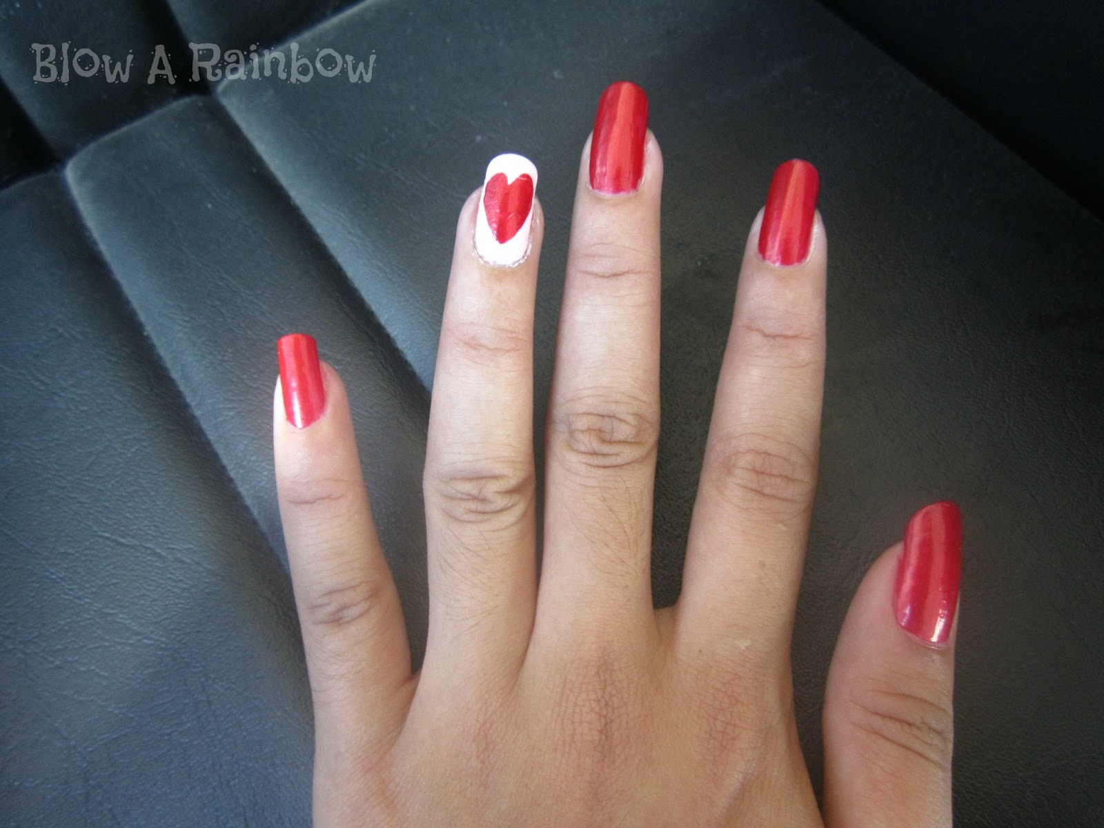 Blow a Rainbow: Romantic Red Nails