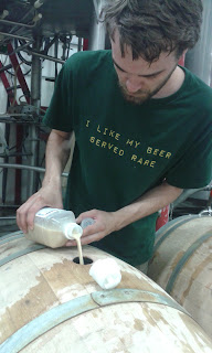 Adding East Coast Yeast lambic blend to the barrel