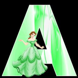 Alfabeto de Bella con vestido verde.