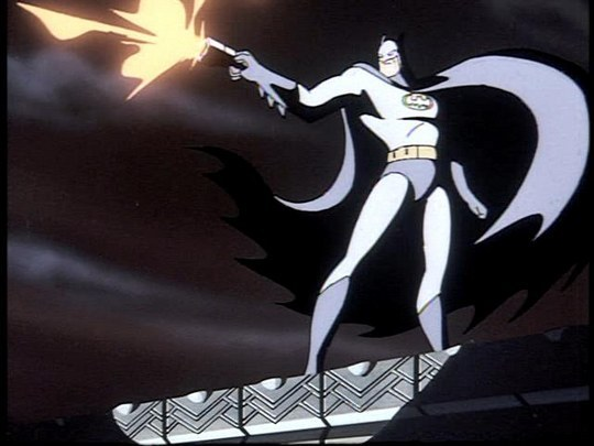 Batman fires his grappling hook and pisses off the Five-0 in the Batman: The Animated Series pilot episode 'On Leather Wings.'