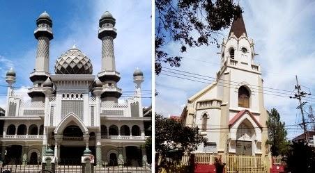 gereja dan masjid di alun alun kota malang