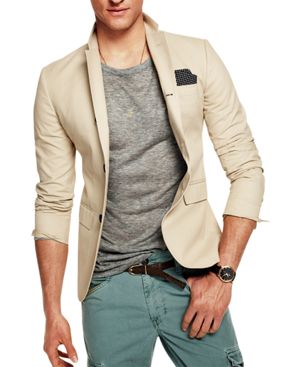 khaki blazer, grey t-shirt, green cargo pants, brown belt, black and white hankerchief,