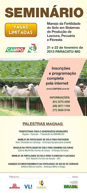 Seminário: Manejo da Fertilidade do Solo em Sistemas de Produção de Lavoura, Pecuária e Floresta